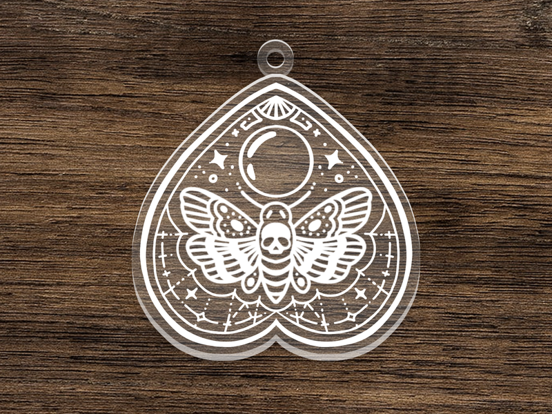 Death's-Head Hawkmoth Planchette skull death wings butterfly acrylic charm transparent clear moth occult planchette ouija board ouija