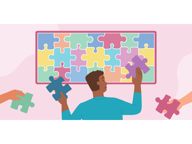 Overcommitting At Work flat illustration colorful workplace startup puzzle overcommit