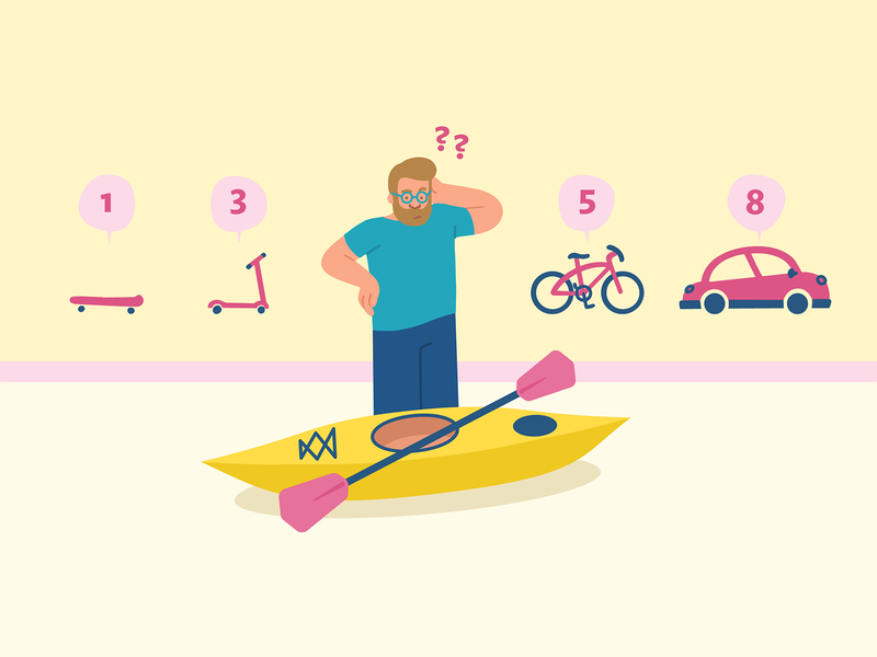 Story Points Don't Work illustration flat neopolitan pastel startup confused car bicycle kayak estimation story points