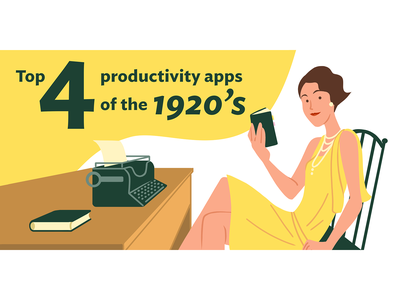 1920's Productivity Apps illustration flat illustration typewriter great gatsby flapper 1920s