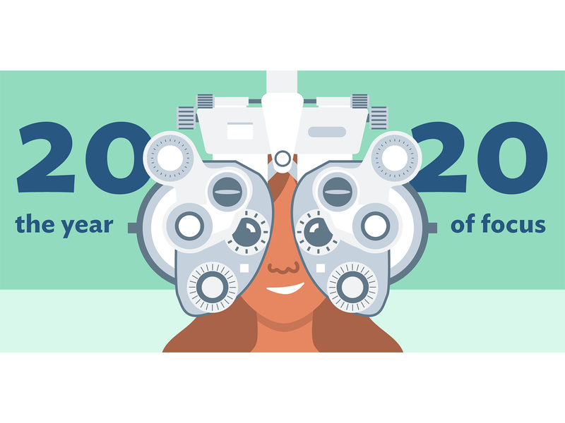 20/20 Focus mint vision illustration flat illustration machine eye exam eye doctor focus 2020