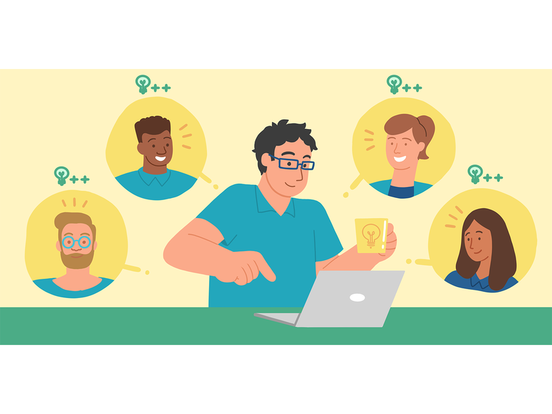 One Click startup illustration flat illustration productivity