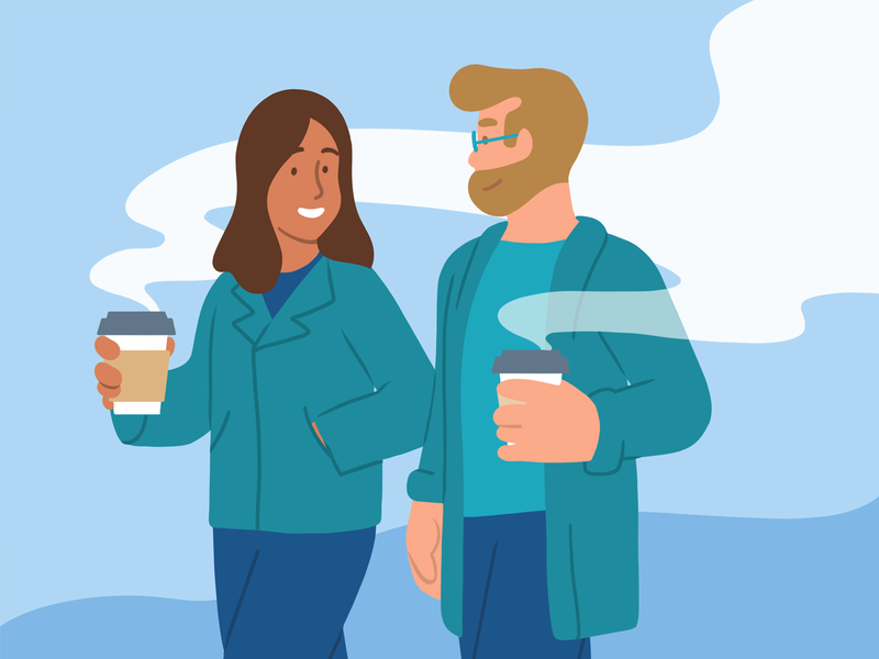 One on One illustrator flat illustration walking coffee 1:1 one on one 1-1