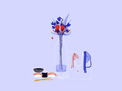 Valentine's day mood digital illustration digitalart amour night couple love girl underwear sushi flowers colors procreate dribbbleweeklywarmup valentinesday