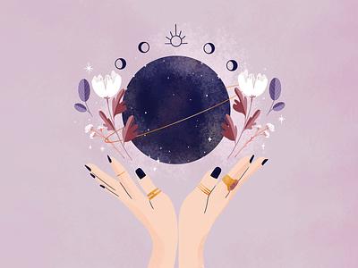 Mystical mood cycle moons girls jewels process digital illustration digital illustration procreate blue stars flowers purple colorful planets moon mystical mystic