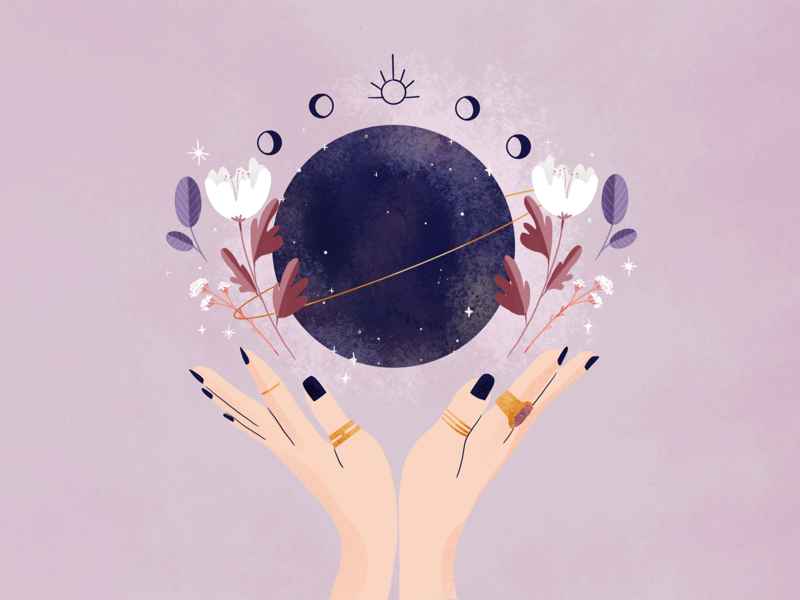 Mystical mood cycle moons girls jewels process digital illustration digital illustration procreate blue stars flowers purple colorful planets moon mystical mystic