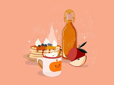 Autumn snack autumn party apple orange procreate hot chocolat pancake food apple juice snack autumn