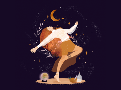 Magic women magie autumn colors colors stars digital art procreate illustration mystic mystical moon dance magical magic magic women
