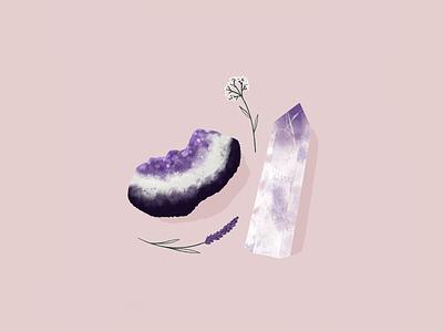 Magical stone procreate mystical mystic magie inspiration stones rocks purple amethyste magic stone