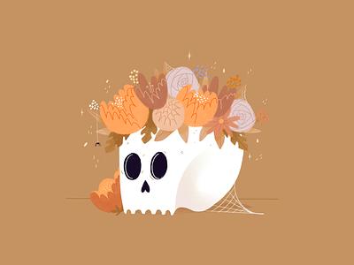 Skull procreate flowers illustration spy halloween design autumn mood colors flowers halloween party skull halloween