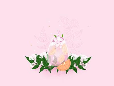 Elderflower cocktail digital art flowers lemon art illustration digital challenge inktober procreate fleur de sureau fruit orange summer flower elderflower alcohol