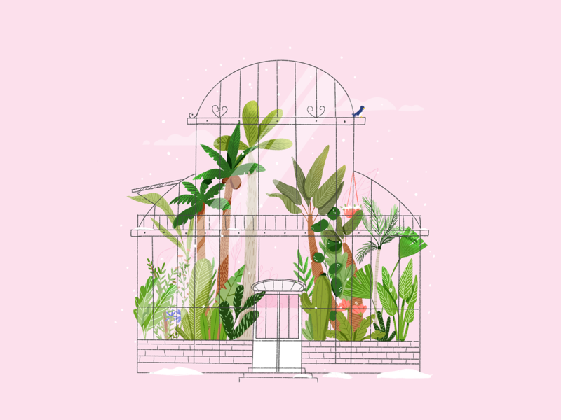 Winter greenhouse love icon design flowers inktober inktober challenge illustration leaves green paradise jungle palm leaf snow procreate digital illustration greenhouse
