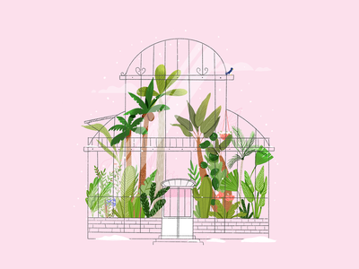 Winter greenhouse love icon design flowers inktober inktober challenge illustration leaves green paradise jungle palm leaf snow procreate digital illustration greenhouse