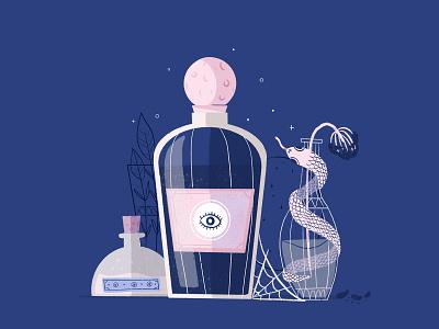 Girly potion halloween design halloween party digital illustration digital art illustration spooky season spooky blue bat halloween pink girly potion snake serpent
