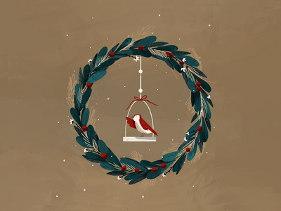 Christmas wreath procreate digital art xmas flower leaf details flowers christmas winter bird red christmas wreath couronne wreath