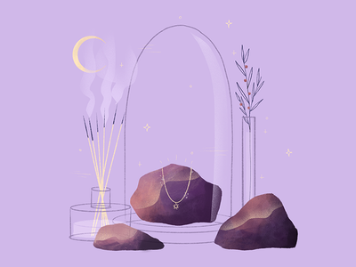Necklace & rocks girly love precious bijoux digitalart illustrator moon astronomy mystical incense purple illustration procreate rocks mystic jewels