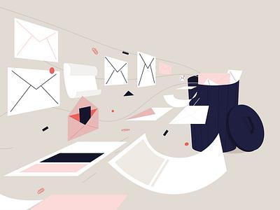 Let's delete our emails! design vectoriel illustrator mails digital art pink bin trash cleanfox ecology emails