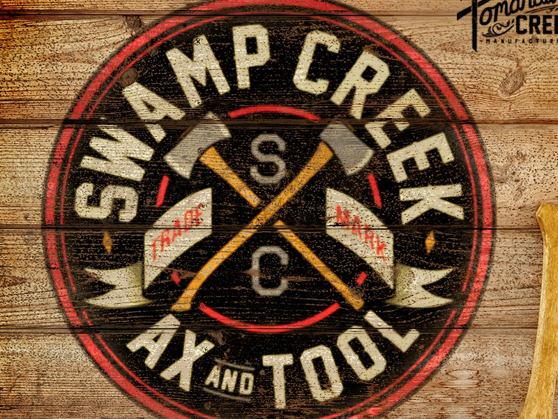 Swamp Creek Ax & Tool Identity photography old logger tools forest axe retro vintage identity logo brand illustration