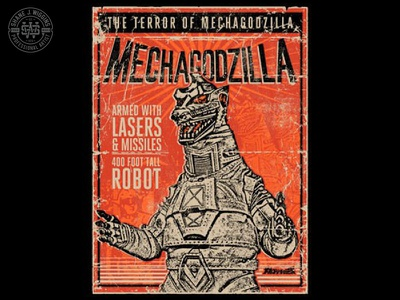 Mechagodzilla Poster Illustration asian movies typography television pop culture monsters hand drawn vintage gojira illustration