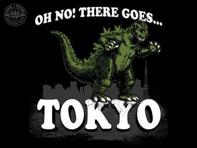 Godzilla - There Goes Tokyo Illustration asian movies typography television pop culture monsters hand drawn vintage gojira illustration