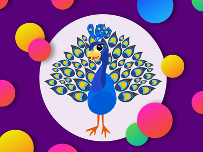 Peacock Kids T-Shirt Print design cute feathers artwork vector shapes peacock illustration colors blue bird