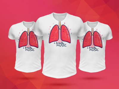I Breath Music T-Shirt Design t shirt design mockup inhale breath pink music lungs t shirt