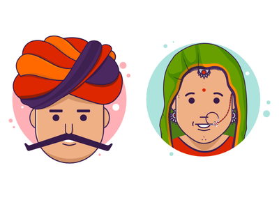 Rajasthani Couple Characters flat sticker couple dress tradition rajasthan street india character