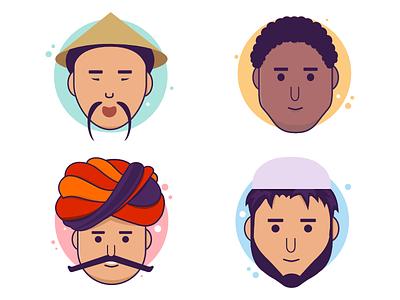 Various flat Characters beard mustache turban traditional hindu arabic muslim african indian chinese characters flat