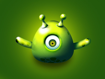 Green Monster Character eye green monster antenna green monster game