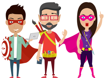 Super hero vector characters writer designer developer characters vector superhero