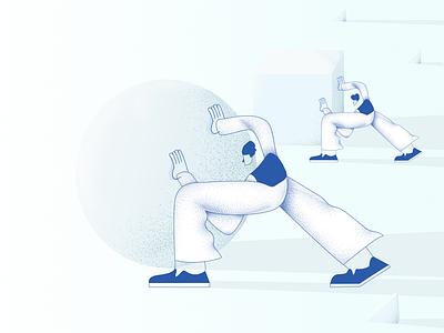 Efficiency vs. Effort blog illustration character design trends minimal vector illustration