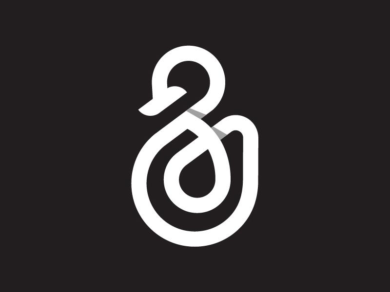 გ-g swan design typography logo icon