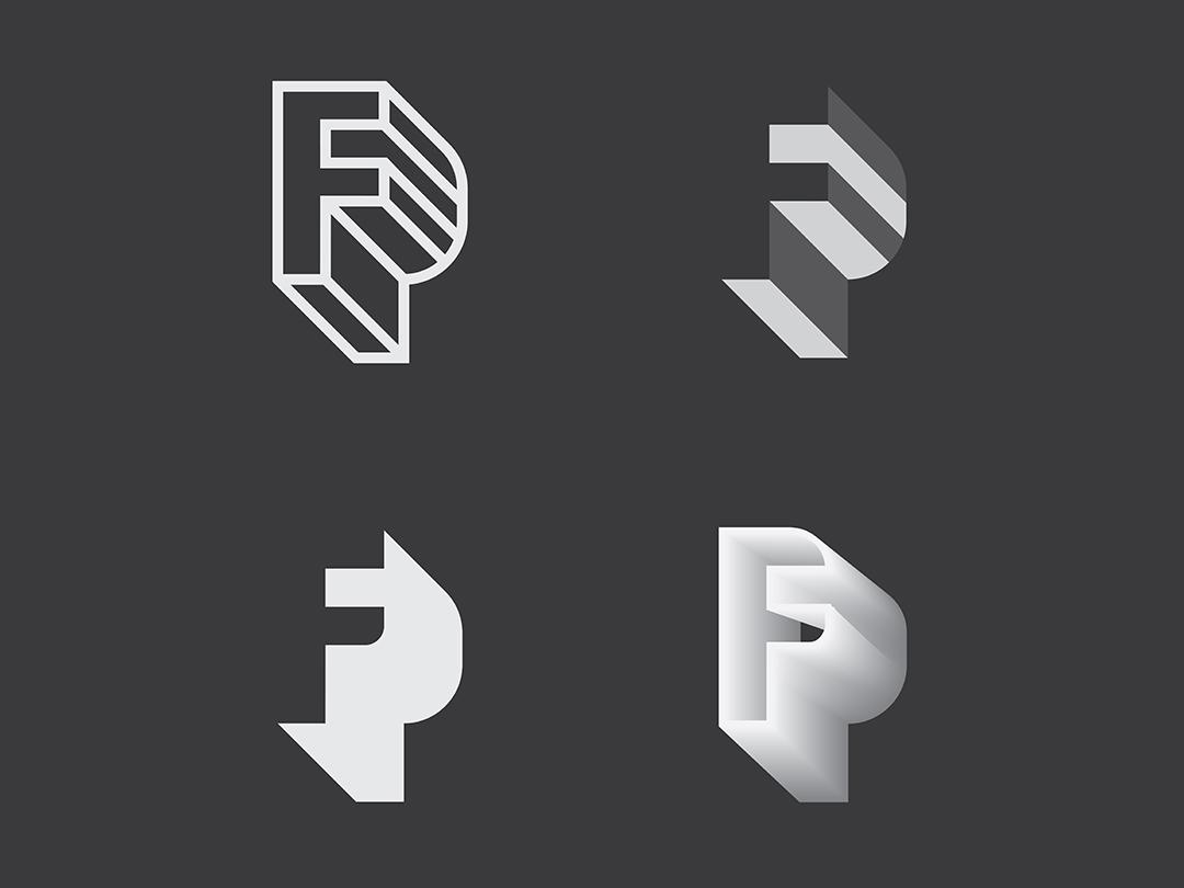 FP letter typography design logo icon