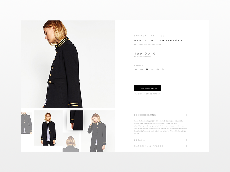 D E T A I L P A G E  X  B O G N E R clean  dark  design  ecommerce fashion product shop ui ux luxury website