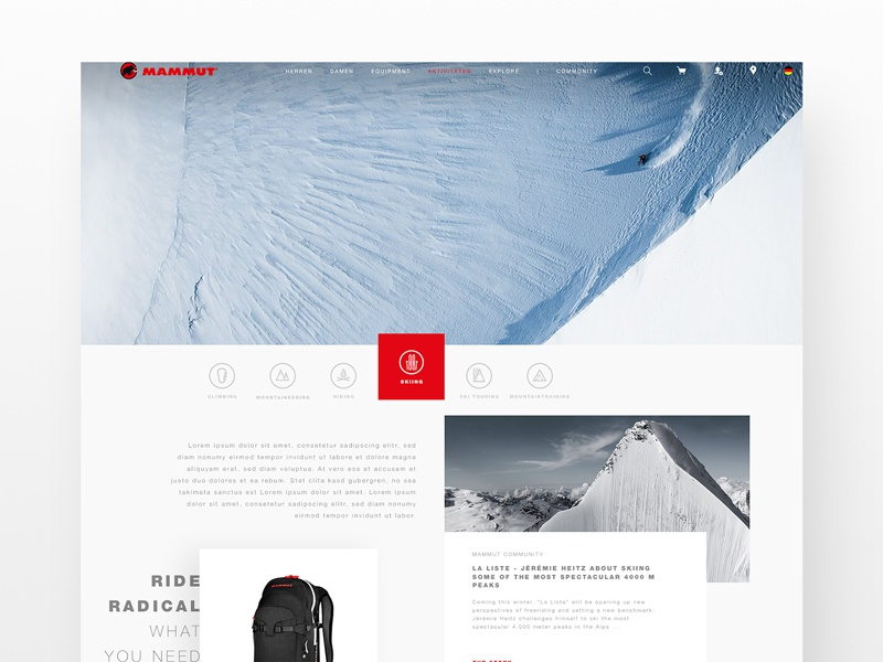 UX X ACTIVITIES X MAMMUT ux ui shop interface grid skiing outdoor fashion e-commerce concept sports