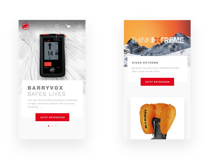 Mammut mobile screen design skiing website ad outdoor sports shop web app icon vector branding artdirector design concept brand e-commerce minimal interface ui ux
