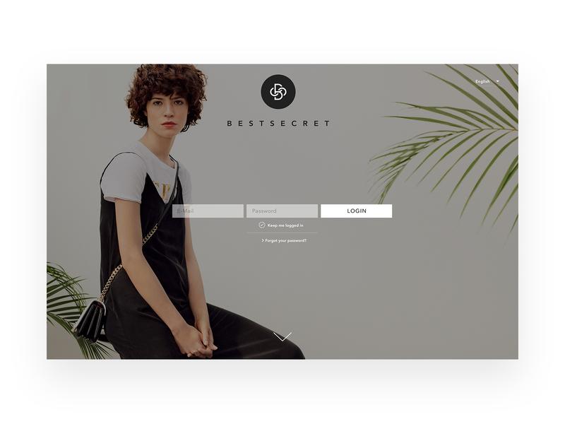 Best Secret - login screen design website web designer ad interface icon fashion branding shop e-commerce design concept brand artdirector ui minimal ux