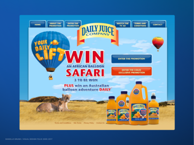 Daily juice landing page for a campaign (2009)