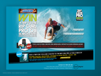 Snickers & Ripcurl Pro Campaign Landing page 2008