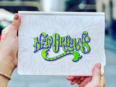 When in New Orleans typography art brush lettering typography handmade font lettering