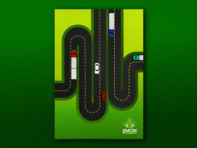 Limon Highways Poster poster set poster branding wavy road cars lines highway texture color illustration