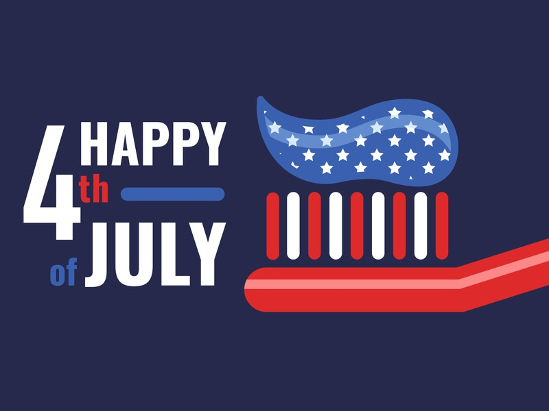 Patriotic Toothbrush wichita oms social media social baseline creative line color fourth of july july 4th toothpaste toothbrush dental vector illustrator illustration