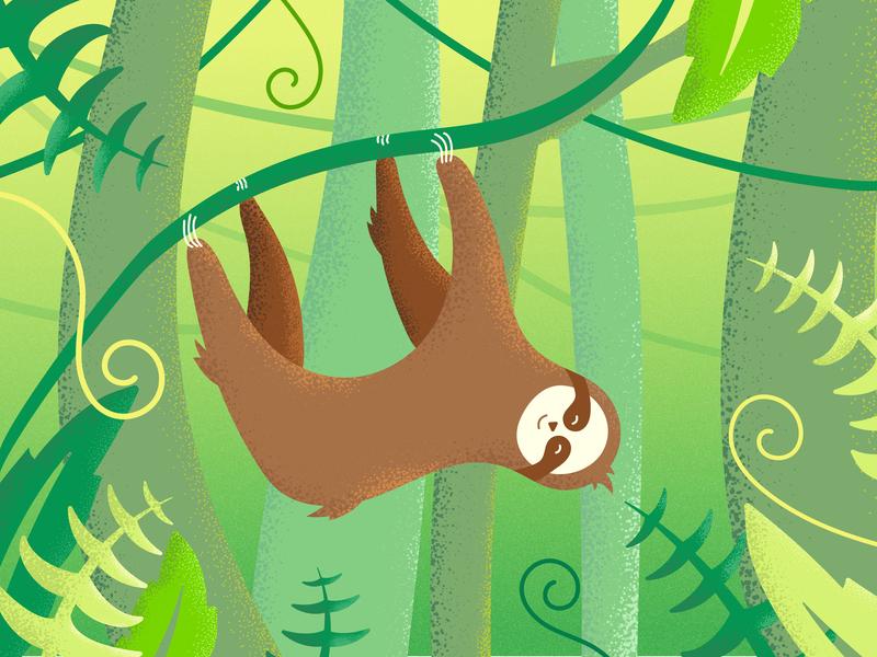 Embrace the Pace - Sloth Illustration sloth sanctuary vines leaves forest illustration rain forest forest sloth stippling texture gradient vector color line illustrator illustration