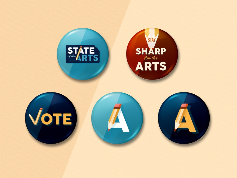 Art Education Campaign Buttons pencil stay sharp arts secondary logo logo campaign button vote buttons art education hot topic politics political campaign brand branding illustrator illustration