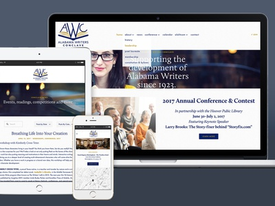 Alabama Writers Conclave Website creative direction art direction graphic design responsive design ux design uiux web design website design