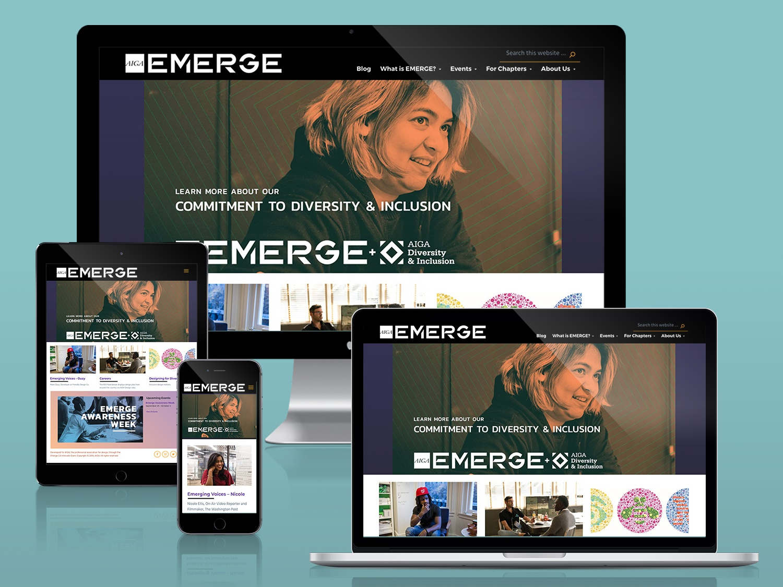 AIGA EMERGE Website nonprofit ui ux design design art direction web development web design