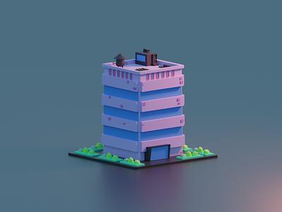 Building pinkish 3d