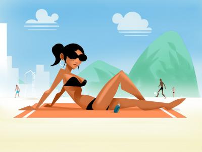 Garota de Leme brazil rio sunbath beach illustration vector minimalist