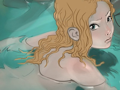 Lily illustration girl woman water