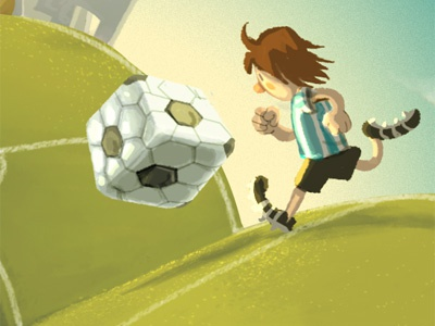 Lio and the square ball illustration games soccer football sports cute surrealism